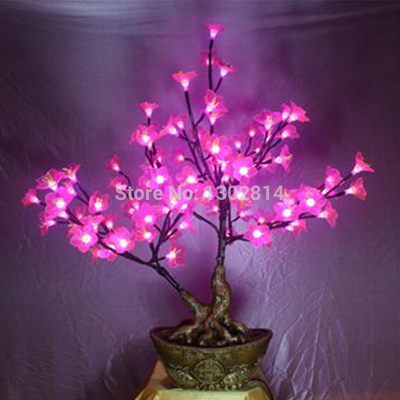 80cm 108pcs pink flower tree led lamps on table(China (Mainland))