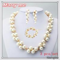 3 pcs Fashion Wedding Jewelry set Bijoux Pearl Earrings & Bracelets & Necklaces pendants Women Wedding Bridal Jewelry sets