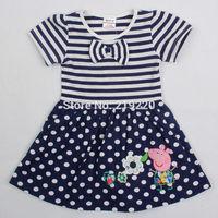 Nova brand Peppa pig girls dress summer retails children kids girls vest t shirt dress nova peppa pig clothing free shipping
