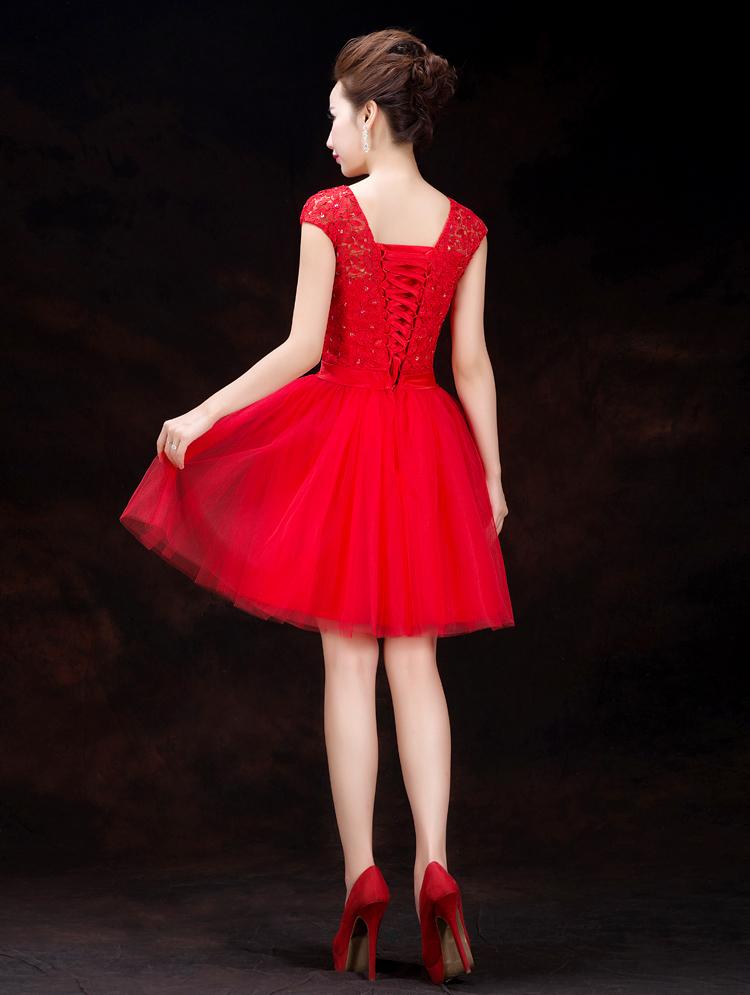 2014 new knee-length with bow V-Neck mini wedding dress(China (Mainland))