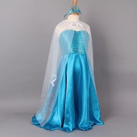 2015 Elsa Costume Blue Princess Elsa Girls Dresses With Cloak+ Crown Fashion Cosplay Party Kids Dress Children Clothing 040