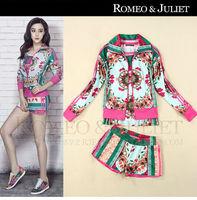 Women's Hoody Print Ladies Clothing Set Outerwear Jacket 2014 New Spring Summer Casual Sports suit Sweatshirt Women Set 3 pcs