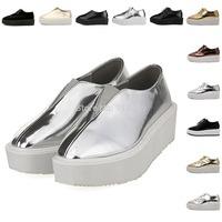 Women's Metallic Creepers Platform Flats New 2014 Fashion Patent Leather Square Toe Punk Flat Platform Shoes Gold/Silver/Black