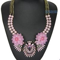 Christmas Gift Women Choker Necklace Handmade Statement Acrylic Flowers Chunky Crystal Pendant Necklace NB901459