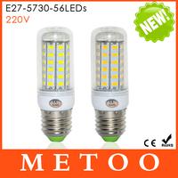 1PCS E27 SMD Cree 5730 220V LED lights 56LEDs Max 18W Corn Bulbs lamps Candle Energy Efficient Lighting