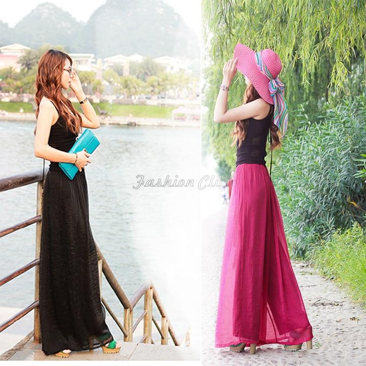 Bohemian Long Women Casual Black Chiffon Palazzo Pants Wide Leg With A Belt Female Cargo Pants Trousers Fashion Plus Size FC772(China (Mainland))