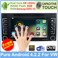 Free Shipping! Car DVD For VW Touareg GPS Navigation Radio Pure Android 4.2 Multimedia Player Built-in WiFi DVR Support OBDll