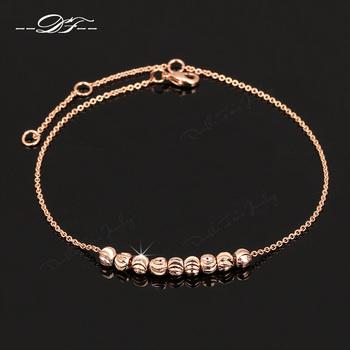 Simple Elegant 8 Beads Anklets Chain 18K Розовый Золото Plated Модный Brand Vintage ...