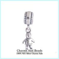 925 Sterling Silver Boy Kids Dangle Pendant Thread Charms Fits Pandora Style Charm Bracelet Necklaces & Pendants