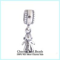 925 Sterling Silver Girl Kids Dangle Pendant Thread Charm Fits Pandora Style Charm Bracelet Necklaces & Pendants