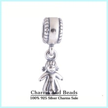 925 Sterling Silver Girl Kids Dangle Pendant Thread Charm Fits Pandora Style Charm Bracelet Necklaces & Pendants