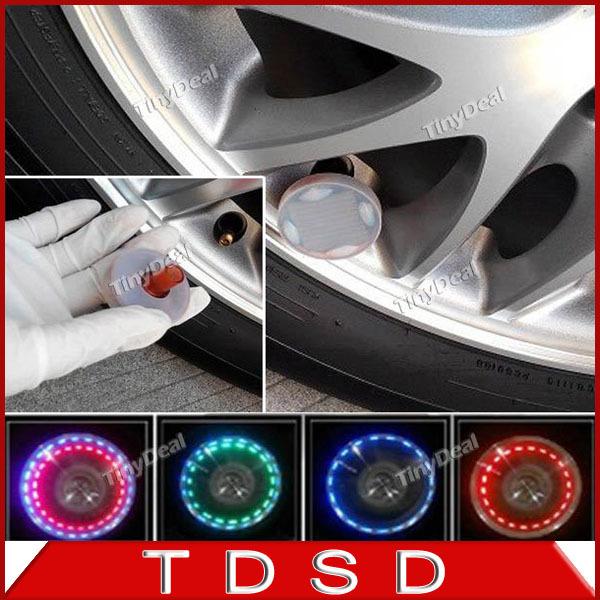 4 PCs/lot Auto Colorful RGB Waterproof flash Glare Car Solar Power LED Wheel Energy Light Lamp decorative Lightings(China (Mainland))