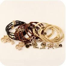 Free Shipping Many Style Black Zinc Alloy Skeleton Bear Pendant Hair Rope Punk Link Bracelet for