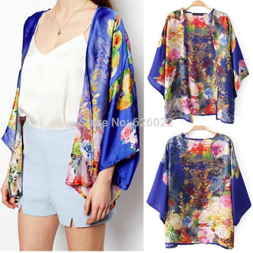2014 New Summer Women Vintage Ethnic Oriental Blue Floral Flower Print Loose Kimono Cardigan Shirts Bat Sleeve Blouses Tops coat(China (Mainland))