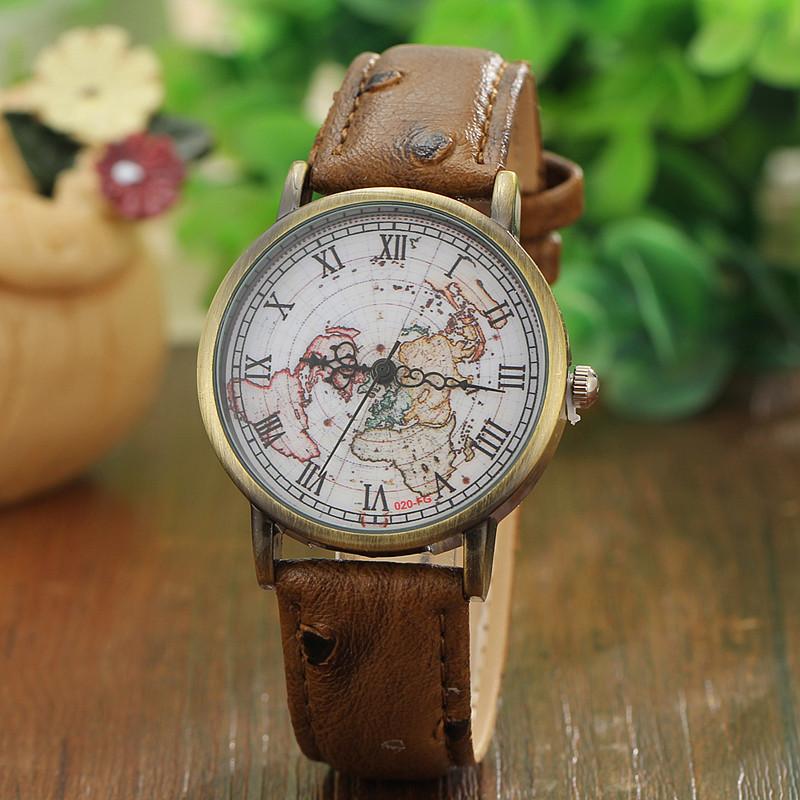 4 cores de alta qualidade relógios Vintage as mulheres assistir relógios de alta qualidade de bronze roma mapa assista Face Dress Watch(China (Mainland))