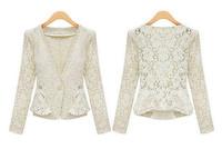 Top Fashion 2014 Autumn Women Crochet Long Sleeve Slim Lace Cardigan Lace Suit Coat