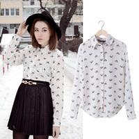 SZ063 2014 New Fashion Ladies White Summer Shirt Womens Tops Chiffon Leopard Head Print Blouse Rivet collar Blusas Femininas S&Z
