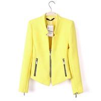 Autumn Winter New Fashion Ladies Coat Zara2014 Women Suits Outwear Zipper Decoration Yellow Black White Blazers And Jackets