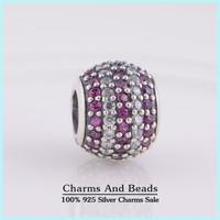Pave Zircon Stone Ball 925 Sterling Silver Silde Charm Beads DIY Bracelets Jewelry Making Fits Pandora Style Bracelets Bangles