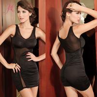 2014 Hot Sexy Form Fitting Stretch Mini Party Dress With Mesh Clubwear Vestidos Black LC2538