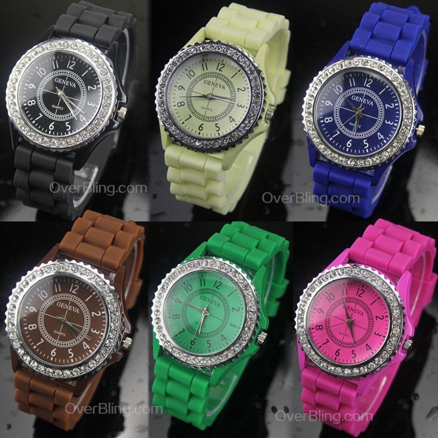 2014 Hot Women Girls Ladies Elegant Graceful Fashion Stylish Diamante Silicone Band colorful Watch Wholesale Quartz Watches(China (Mainland))