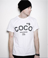 Free Shipping Shirts Coco N9 Channel Mens T-Shirt Cotton Tshirts O Neck Top Tees Man Clothing Printing Front and Back
