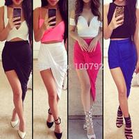Asymmetrical Draped Long Skirt    Bandage   Summer New 2014 Vintage Geometric   Party Women's Cotton Maxi  Skirt