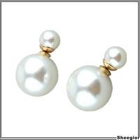 2014 Fashion Brand Double pearl Earring women piercing statement wedding stud earrings Gold brincos perle pendientes boucles