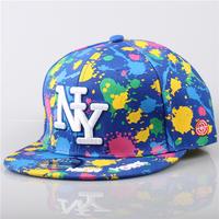 2014 Cool Ink Splatter New York Snapback Baseball Cap Unisex Style Adjustable Hip Hop Cap Sun Hat NY Cap Free Shipping