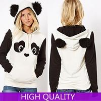 Hoodies Sweatshirts 2014 New Fashion Autumn Winter Women Block Cute Panda Fleece Printed 3d Sweatshirt Women Tracksuit Pullover