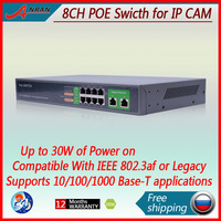 8ch POE Switch 10/100/1000Mbps Gigabit IEEE802.3af/at standard Output:65W/56V(48V) for anran cctv ip camera