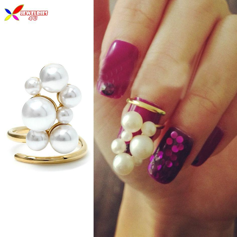 2014 neuankömmling heißen modische elegante gold faux perle designer fingernagel ring kunst schmuck für frauen bagues Ensemble bijoux