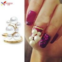 2014 new arrival hot fashionable elegant gold faux Pearl Designer finger nail ring art jewelry for women bagues ensemble bijoux