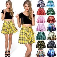 Hot Selling Fashion Women's Girl's Sexy Stylish Pattern Print Elastic Waist Skirt Mini Dress 15 Colors Free Shipping B6 SV004589