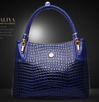 2014 new arrival crocodile pattern handbag genuine leather bag female fashion shoulder bag handbag women