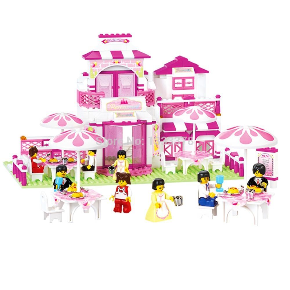 Simple package Sluban M38-B0150 Romantic Restaurant Building Blocks Enlighten Toy Best Gift For Children(China (Mainland))