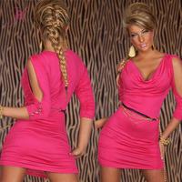 2014 Dresses Online  Sexy Cowl-neck Slit Shoulder Mini Dress Clubwear Cocktail Vestidos White/Black/Pink LC2907