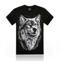 Free Shipping fashion tops summer 3D wolf print men T-shirts,o-neck t shirts men tees men's t shirt cotton men's T shirts,KT01