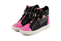 2014 Women Metal buckles rivets  fashion Sneakers High top heel Breathable Boot Genuine Leather Laceup as shoes