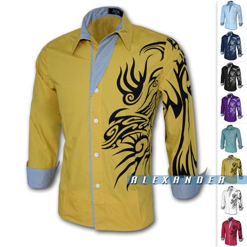 2014 Fashion Brand Men Shirt ,Dragon Printing Slim Fit Casual Shirt,Mens Dress Shirts,Casual Shirts Long Sleeve,Plus Size(China (Mainland))