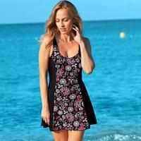 Women Floral Print Swimsuit Beachwear with-Skirt Dark Purple Black