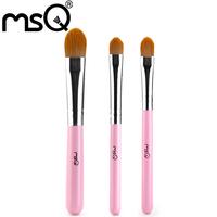 MSQ 100sets/lot  High Quality  3pcs Makeup Brush Set  Synthetic Hair Eye Shadow Blush Lip Cosmetic  Brush