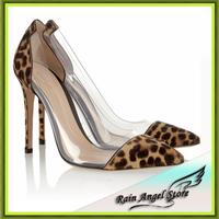 Europen Quality Transparent Splice Leopard Women Sexy Pointed Pumps Thin Heels 10cm Shoes Sheepskin Genuine Leather Pumps