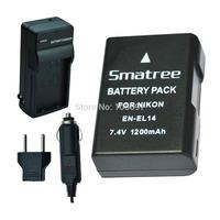 Smatree's Newest High Quality EN-EL14 Battery Charger Kit for NIKON D3100 D3200 D5100 Coolpix P7000 Coolpix P7100 Camera