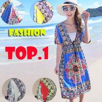 2014 NEW Fashion Retro 1960s 1970s Vintage Paisley Print V Neck Hippie Bohemian Summer Dress Women Beach Dress M XXL