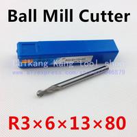 Head 6mm, ball mill, aluminum-hardened high speed steel cutter, R3 * 6 * 13 * 80mm