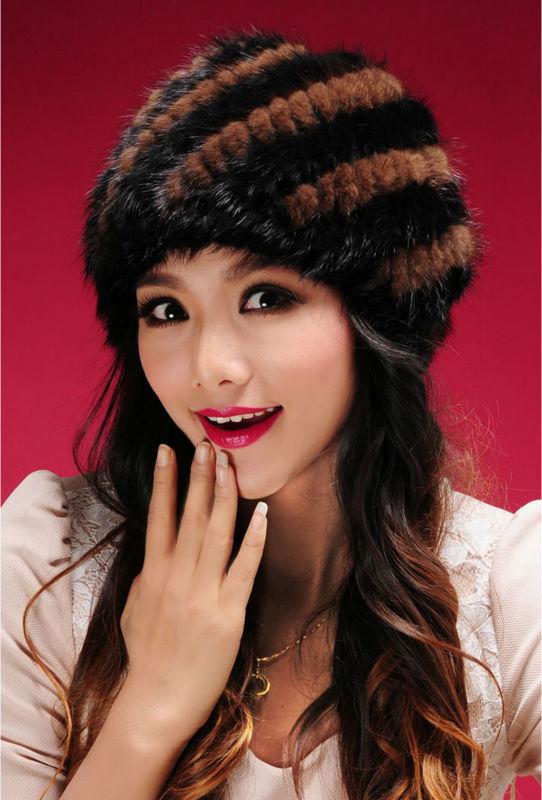 New Genuine Mink Fur Hat Cap Nature Knit Mink Fur Hat Fashion Women Headgear Free Shipping TPHM0003(China (Mainland))