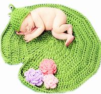 Baby hat Accessories photography cute cartoon frog style knit hat+lotus pad 2 piece Set newborn green soft Handmade crochet cap
