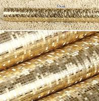Luxury Plain Gold  Wallpaper Roll Texture Mosaic Waterproof PVC Reflective Glitter Paper 5m golden  wedding wall coverings