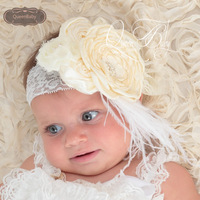 6pcs/lot Ivory WIDE lace Headband with Layered Poppy Flowers Matching feather Baby Headbands Boho Style